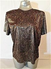Buy DINA ARIEL WOMENS Large S/S BROWN GOLD KEY HOLE BACK SHINY TOP BLOUSE (J)