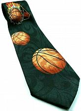 Buy Basketball On Fire Flames Through Hoops Sports Novelty Necktie
