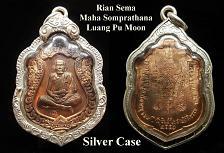 Buy Thai Buddha Amulet LP MOON (Wat Banjan) Real 4 Code Silver Case Pendant Thailand