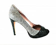 Buy Vince Camuto Black Gray Glitter Peep Toe Pumps Heels Shoes Women's 8 B (SW15)