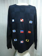 Buy Pussers West Indies Nautical Sweater Sailing Gear FLAGS Mens XXL Navy