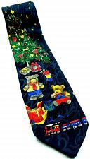 Buy Christmas Tree Teddy Bears Trains Presents Starry Night Novelty Tie