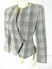 Buy EH WOODS womens Sz 6 L/S brown taupe PLAID 1 button fully LINED jacket (B2)P