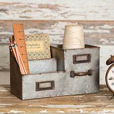 Buy Desk Organizer Office Metal Three Bin Caddy Storage Supplies Vintage Rustic