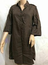 Buy La Redoute Creation 3/4 sleeve dress Brown Linen size 6 NWOT