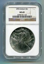 Buy 1993 AMERICAN SILVER EAGLE NGC MS69 BROWN LABEL PREMIUM QUALITY NICE COIN PQ