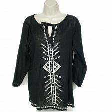 Buy Ann Taylor Loft Keyhole Blouse Top Size Small Black White Geometric Embroidered