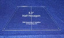 "Buy Half Hexagon 8.3"" with Seam, Center Guideline & Guide Holes-Quilt Templates-"