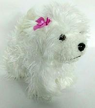 Buy Battat White Bichon Frise Puppy Dog Standing Plush With Pink Bow 10""