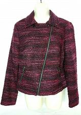 Buy Dana Buchman Womens Blazer Coat Size 8 Diagonal Zip Up Black Red