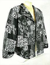Buy CHRISTOPHER & BANKS womens Large L/S black gray TAPESTRY open front jacket (B9)