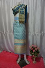 Buy Sky BlueColor Thai Lanna Synthetic Silk sinh Skirt Pha Bieng Tailor to your size