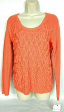 Buy NWT Liz Claiborne Women's Cable Knit Sweater Size Medium Solid Orange Crew Neck