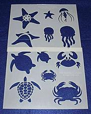 """Buy Mylar 2 Pieces of 14 Mil 8"""" X 10"""" Sea Life Stencils- Painting /Crafts/ Templates"""