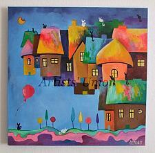 Buy Fantasy Original Oil Painting Cityscape Magic City Cats Balloon Fine Art for Kids