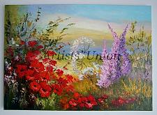 Buy Red Poppies Meadow Original Oil Painting Landscape Palette Knife Impasto Wild Flowers