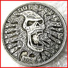 Buy hobo nickel skull hand carved 1921 Morgan Dollar COIN Silver
