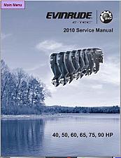 Buy 2010 Evinrude E-tec 40 50 60 65 75 90 HP Outboard Motor Service Repair Manual CD