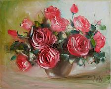 Buy Pink Roses Original Oil Painting, Impasto Fine Art, Palette Knife Textured Bouquet
