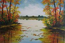 Buy Autumn Landscape Original Oil Painting Contemporary Art Palette Knife Impasto