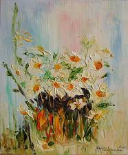 Buy White Daisies Original Oil Painting Modern Fine Art Palette Knife Textured Offer
