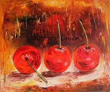 Buy Cherries Original Oil Painting Red Fruits Impressionism Food Art Still Life Linen