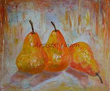 Buy Pears Original Oil Painting Fruits Still Life Textured Food Fine Art Impasto