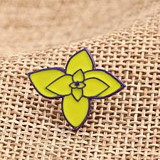 Buy Custom Lapel Pins | Green Flower Enamel Pins - Free Art