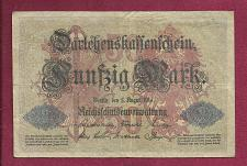 Buy GERMANY 50 Mark 1914 Banknote ENr4612341 Pick 49 with 7 Digit Serial Number