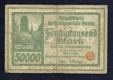 Buy DANZIG 50,000 MARK 1923 Banknote 58931 -Free City of Danzig -P19 VERY RARE Note!