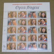Buy US, Scott# 3154-3157, thirty-two cent Opera Singers sheet of 20 stamps (0118)