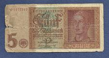 Buy GERMANY 5 Mark 1942 Banknote Serial # W 1972319 - Hitler Youth, Watermark