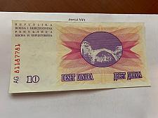 Buy Bosnia 10 dinara circulated banknote 1992 #15