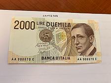 Buy Italy Marconi 2000 lire uncirc. banknote 1990 #14