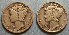 Buy 2 Mercury Dimes Lot McD5w