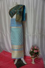 Buy Sky Blue Thai Lanna Synthetic Silk sinh Skirt Pha Bieng Tailor to your size