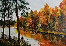 Buy Autumn Landscape Original Oil Painting Forest River Modern Art Palette Knife Impasto