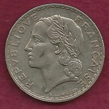 Buy FRANCE French 5 FRANCS 1933 COIN - Historical WWII Currency !!