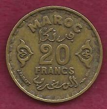Buy MORROCO MAROC 20 Franc 1371 AH (1951 - 1952) Rare Coin! Empire Cherifien
