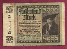 Buy GERMANY 5000 MARK 1922 BANKNOTE 026054 - MERCHANT Han Imhof - WEIMAR REPUBLIC