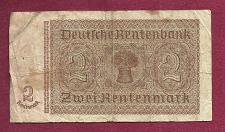 Buy Germany 2 Rentenmark 1937 Banknote #C75549625- WWII Era Nazi Currency!!