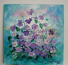 Buy Violets Original Oil Painting Purple Flowers Impasto Textured Palette Knife Fine Art