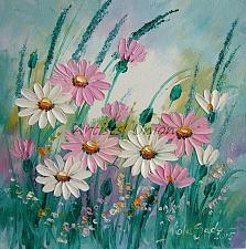 Buy Pink White Daisies Original Oil Painting Meadow Daisy Lavender Palette Knife Fine Art