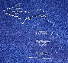 """Buy State of Michigan Template 6"""" X 6.325"""" - Clear ~1/4"""" Thick Acrylic- 2 pieces"""