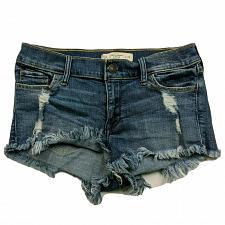 Buy Abercrombie & Fitch Womens Denim Booty Shorts 00 Distressed Raw Hem Stretch