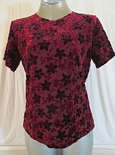 Buy IMPRESSIONS womens Medium S/S BURGUNDY STRETCH FLORAL TOP BLOUSE (E)