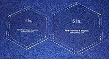 """Buy Hexagon Templates. 4"""", 5"""" - Clear W/guide Line Holes 1/8"""""""