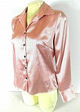Buy Lauren Lee womens Small L/S pink black POLKA DOT button down stretch top (J)PMTD