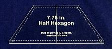 """Buy Half Hexagon 7.75"""" with Seam, Center Guideline & Guide Holes-Quilt Templates-"""