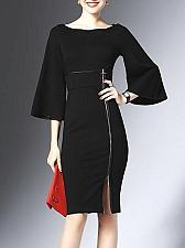Buy LONYUASH Black Sheath Bell Sleeve Zipper Slit Midi Dress Size S